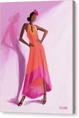 Long Orange And Pink Dress Fashion Illustration Art Print Canvas Print