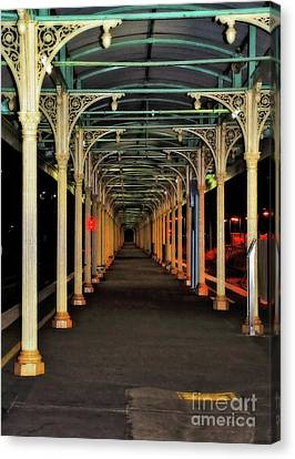 Canvas Print featuring the photograph Long Platform Albury Station By Kaye Menner by Kaye Menner
