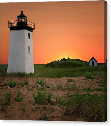 Long Point Light Sunset Canvas Print by Bill Wakeley