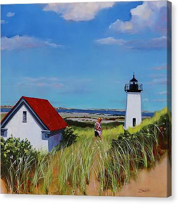 Long Point Light Two Canvas Print by Laura Lee Zanghetti