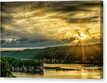 Nicholas County Canvas Print - Long Point Summersville Lake Sunrise by Thomas R Fletcher