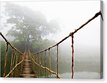 Weathered Canvas Print - Long Rope Bridge by Skip Nall