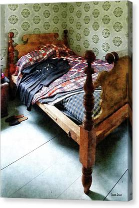Dresses Canvas Print - Long Sleeved Dress On Bed by Susan Savad