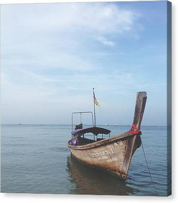 Canvas Print featuring the photograph Long Tail Boat Stillness by Ivy Ho