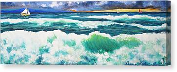 Long Thin Wave Canvas Print by Anne Marie Brown