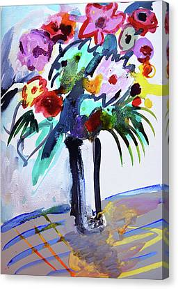 Long Vase Of Red Flowers Canvas Print