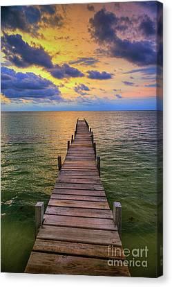 Short Walk On A Long Pier Canvas Print by David Zanzinger