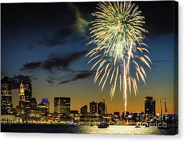 Long Warf Fireworks 1 Canvas Print by Mike Ste Marie