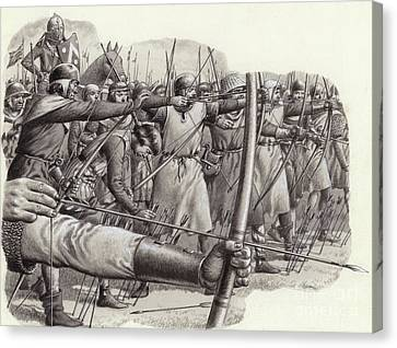 Longbowmen At The Battle Of Falkirk Canvas Print by Pat Nicolle