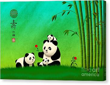 Longevity Panda Family Asian Art Canvas Print by John Wills