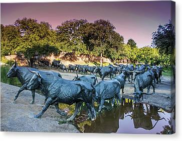 Longhorn Cattle Sculpture In Pioneer Plaza, Dallas Canvas Print by Art Spectrum
