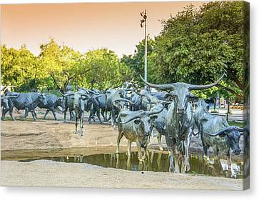 Longhorn Cattle Sculpture In Pioneer Plaza, Dallas Tx Canvas Print by Art Spectrum