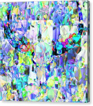 Longhorn Cattle Skull In Abstract Cubism 20170406 Canvas Print