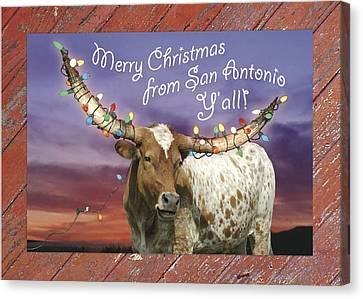 Longhorn Christmas Card From San Antonio Canvas Print by Robert Anschutz