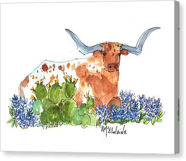 Longhorn In The Cactus And Bluebonnets Lh014 Kathleen Mcelwaine Canvas Print by Kathleen McElwaine