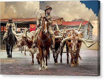 Longhorn Parade Canvas Print by Kelley King