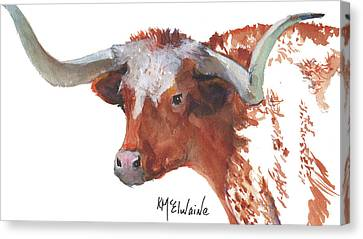 Longhorn Portrait Lh006 Watercolor Painting By Kmcelwaine Canvas Print by Kathleen McElwaine