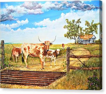 Longhorn Stand Off Your Place Or Mine Canvas Print