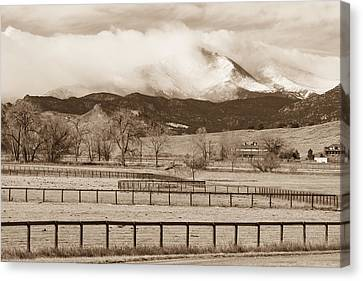 Longs Peak - Storm And Fences - Sepia Image Canvas Print by James BO  Insogna