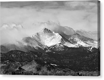 Longs Peak And A Mean Storm Canvas Print by James BO  Insogna