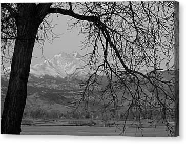 Longs Peak And Mt. Meeker The Twin Peaks Black And White Photo I Canvas Print