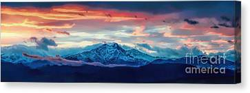 Longs Peak At Sunset Canvas Print by Jon Burch Photography