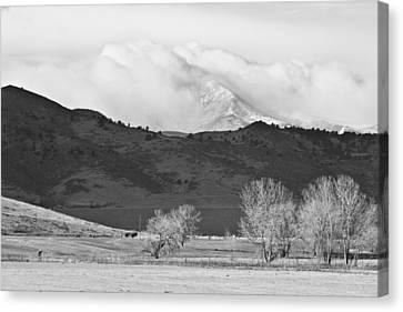 Longs Peak Snow Storm Bw Canvas Print by James BO  Insogna