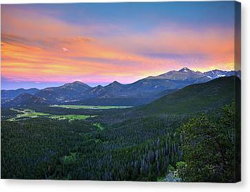 Canvas Print featuring the photograph Longs Peak Sunset by David Chandler