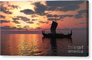Longship At Sunset Canvas Print by Fairy Fantasies