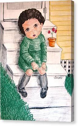 Lonley Girl On Back Step Canvas Print
