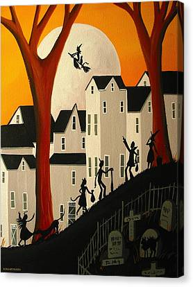 Look A Real Witch - Folk Art Canvas Print by Debbie Criswell