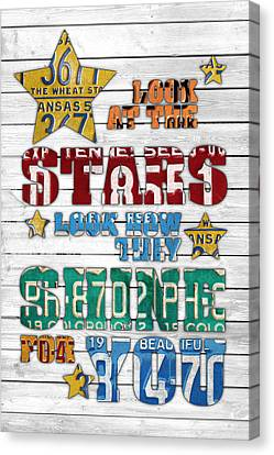 Look At The Stars Coldplay Yellow Inspired Typography Made Using Vintage Recycled License Plates V2 Canvas Print by Design Turnpike
