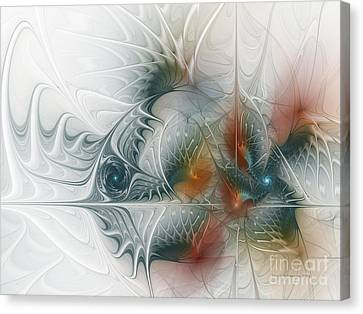 Canvas Print featuring the digital art Looking Back by Karin Kuhlmann