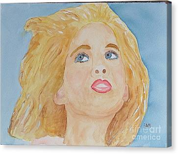 Canvas Print featuring the painting Looking Back by Sandy McIntire