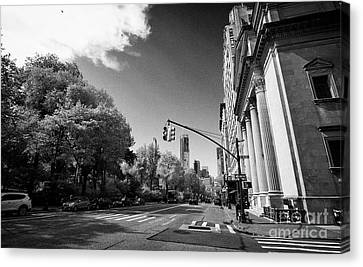 looking down central park west from Congregation Shearith Israel spanish and portuguese synagogue up Canvas Print