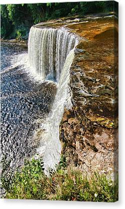 Silk Water Canvas Print - Looking Down On Tahquamenon Falls by Dan Sproul