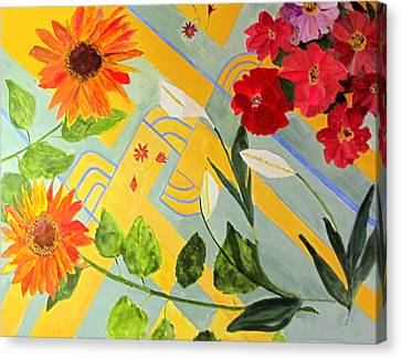 Canvas Print featuring the painting Looking Down On The Flowers On The Tile Floor by Sandy McIntire
