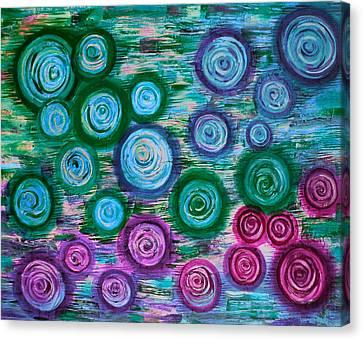 Looking Down On Umbrellas-bleu Canvas Print by Brenda Higginson