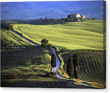 Looking Down Road At Dusk To Old Canvas Print by Axiom Photographic