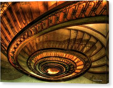 Canvas Print featuring the photograph Looking Down The Ponce Spiral Staircase Atlanta Georgia Art by Reid Callaway