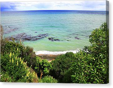 Canvas Print featuring the photograph Looking Down To The Beach by Nareeta Martin