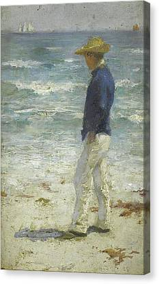 Canvas Print featuring the painting Looking Out To Sea by Henry Scott Tuke