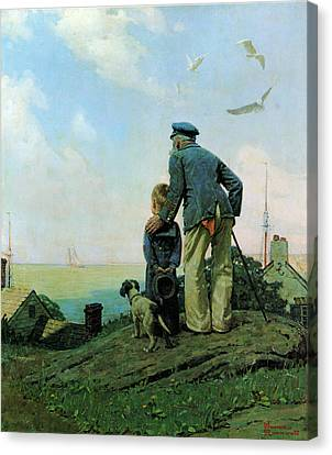 Looking Out To Sea Canvas Print by Norman Rockwell