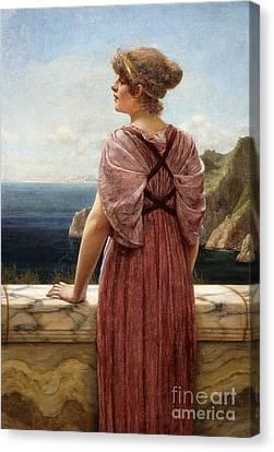Lost At Sea Canvas Print - Looking Seaward by John William Godward