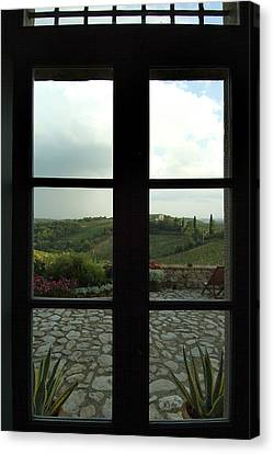 Looking Through A Window To The Rolling Canvas Print by Todd Gipstein