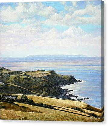Looking Toward Lundy Island And Lee Bay From Ilfracombe Coast Path Canvas Print by Mark Woollacott