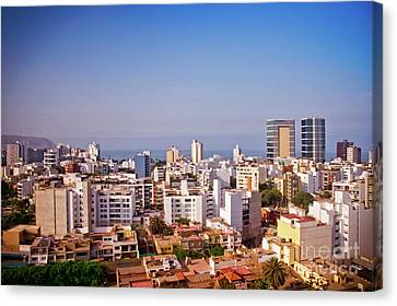 Canvas Print featuring the photograph Looking Towards The Sea - Miraflores by Mary Machare