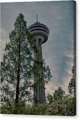 Looking Up At The Skylon Canvas Print by Leslie Montgomery