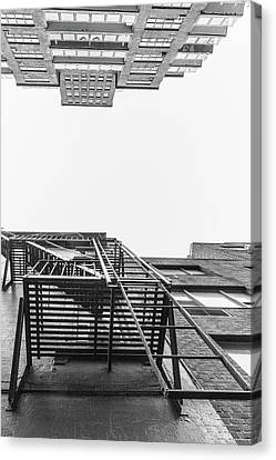 Nyc Fire Escapes Canvas Print - Looking Up Fire Escape Nyc 1 by John McGraw