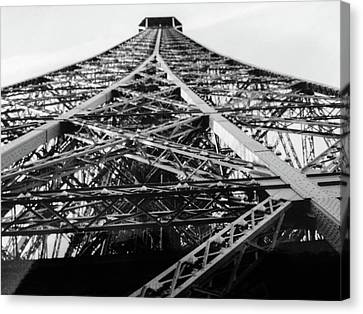 Canvas Print featuring the photograph Looking Up From The Eiffel Tower by Darlene Berger